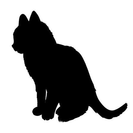 Black silhouette of cat sitting sideways isolated on white background. Vector illustration, icon, clip art. 免版税图像 - 96717627