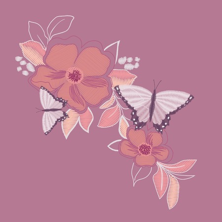 A butterfly embroidery design for clothing. isolated insect vector decoration. Çizim