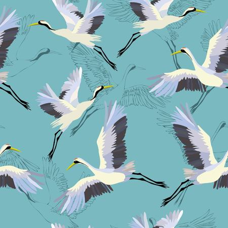 Crane pattern vector illustration