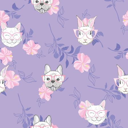Funny girlish seamless pattern with cute kitty, dog, rabbit, faces.