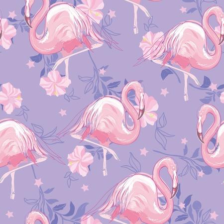 seamless flamingo pattern vector illustration