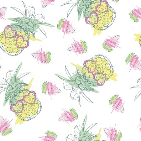 Pineapples background Vector seamless pattern