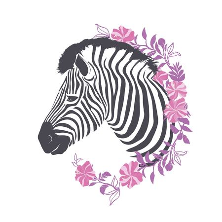 Zebra portrait . Vector illustration. Çizim