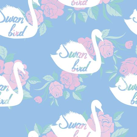 Swan bird seamless pattern