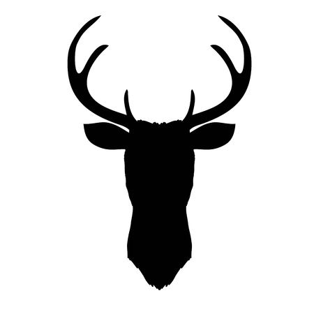 Black vector silhouette of deer's head with antlers isolated on white background.