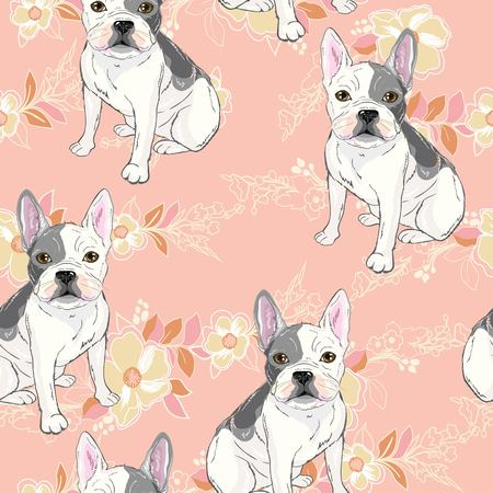 Dog. french bulldog. illustration seamless pattern wallpaper background Standard-Bild - 96718569