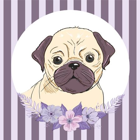 Bulldog with flowers, illustration vector