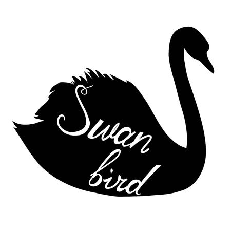 Swan silhouette vector illustration Illustration