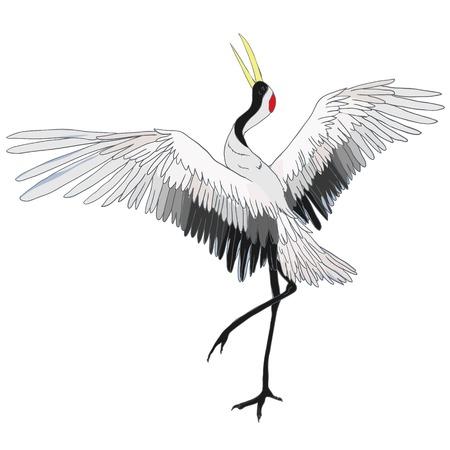 クレーン。飛行中の鳥。デザイン要素。ベクトル。