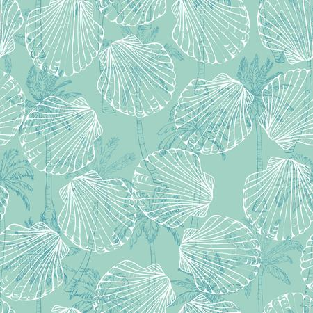 Vector seamless pattern with hand drawn scallop shells