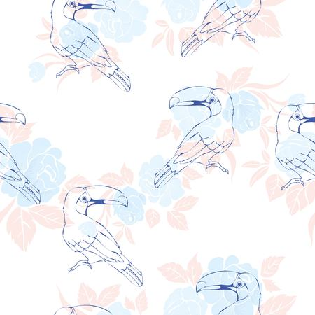 Seamless pattern with hand drawn toucan Illusztráció