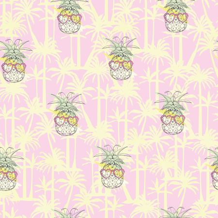 Pineapple background Vector seamless pattern