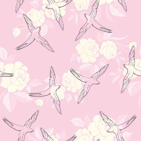 vintage patroon met kleine zwaluwen