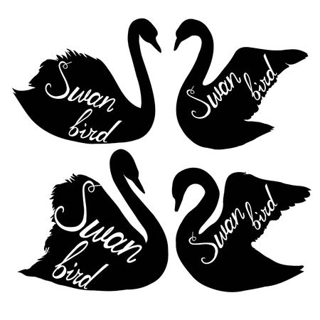 Swan silhouette vector illustration set