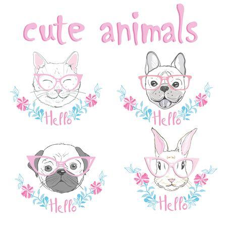 cute french bulldog, cat, rabbit hand drawn graphic, animal illustration  イラスト・ベクター素材