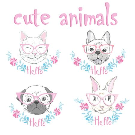cute french bulldog, cat, rabbit hand drawn graphic, animal illustration Ilustracja