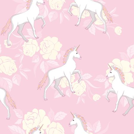 Unicorn and rainbow seamless pattern isolated on white background Иллюстрация