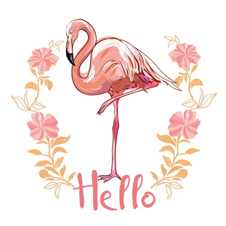 Flamingo isolated on background. Pink flamingo standing on one leg. African exotic bird. Vector
