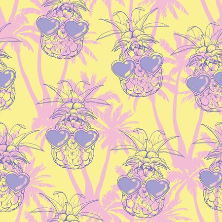 Pineapples background. Vector seamless pattern with tropical fruit. Sketch illustration.