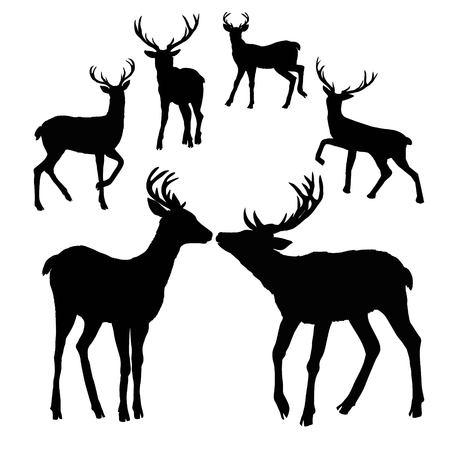 deer silhouette, vector, illustration Çizim
