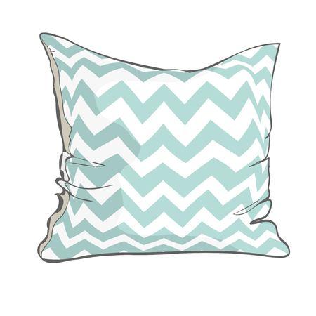 Boceto de ilustración vectorial de almohada con patrón geométrico blanco y azul. Ilustración de vector