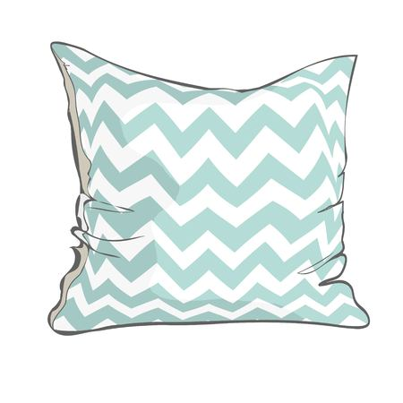 sketch vector illustration of pillow with white and blue geometric pattern.