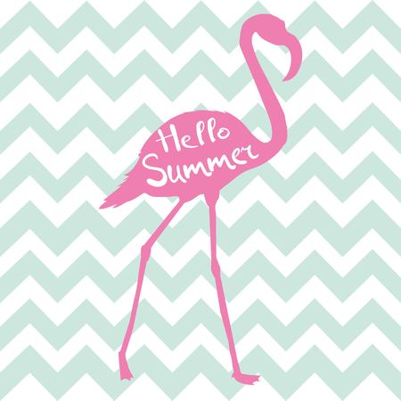 pink flamingo vector illustration on blue and white geometric pattern background.