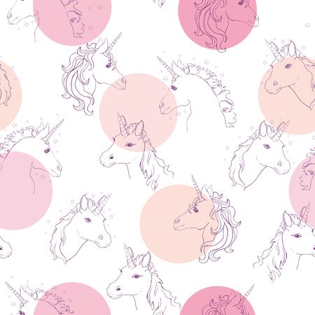 Unicorns with rainbow mane and horn on flat purple background with stars. Vector illustration.
