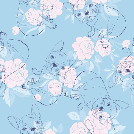 Vector seamless pattern with cute cartoon dog puppies. Can be used as a background, wallpaper, fabric and for other design.French Bulldog pattern Stock Vector - 98614505