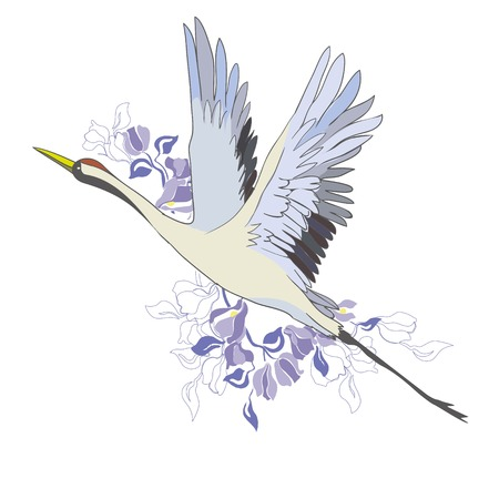 Crane. A bird in flight. Design element. Vector. Banque d'images - 98616109