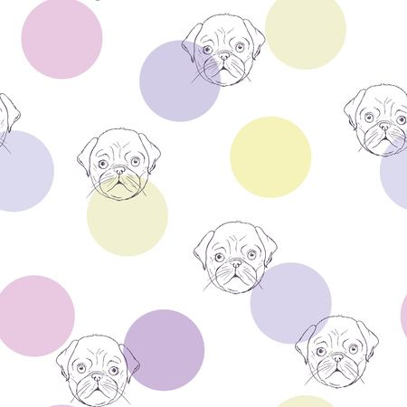 Vector seamless pattern with cute cartoon dog puppies. Can be used as a background, wallpaper, fabric and for other design.French Bulldog pattern 版權商用圖片 - 99235543