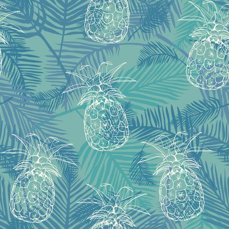 Vector Seamless Pattern with Pineapples, fruit, summer, texture, print, yellow food design decoration fabric