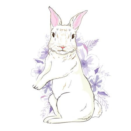 Happy Easter Bunny. Vector illustration for Easter greeting card, invitation with white cute rabbit.