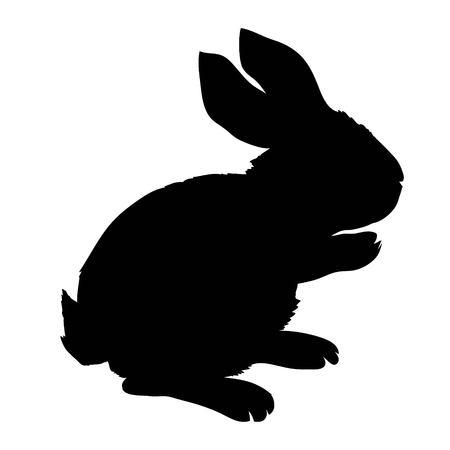 Silhouette rabbit, vector illustration Illustration