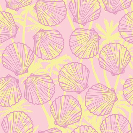 Hand drawn vector illustrations - seamless pattern of seashells. Marine background.