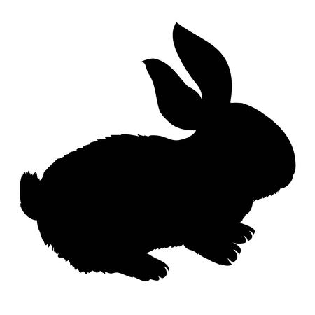 Silhouette rabbit, vector illustration Stock Photo