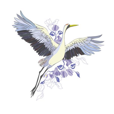 Crane. A bird in flight. Design element. Vector.