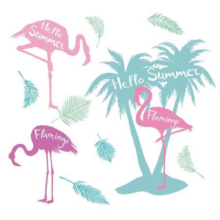 Flamingo. Vector illustration, silhouette, beautiful, bird symbol vector pink africa exotic Banco de Imagens