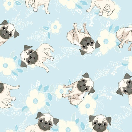 Vector seamless pattern with cute cartoon dog puppies. Can be used as a background, wallpaper, fabric and for other design.French Bulldog pattern Standard-Bild - 100785799