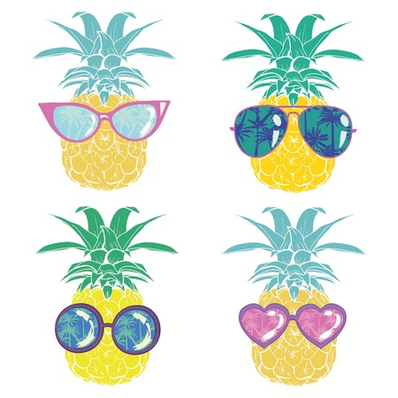 pineapple with glasses tropical, vector, illustration, design, exotic, food, fruit, background, design, exotic, food, fruit, glasses, illustration nature pineapple summer tropical vector drawing fresh healthy isolated plant sweet white dessert hawaii leaf  イラスト・ベクター素材