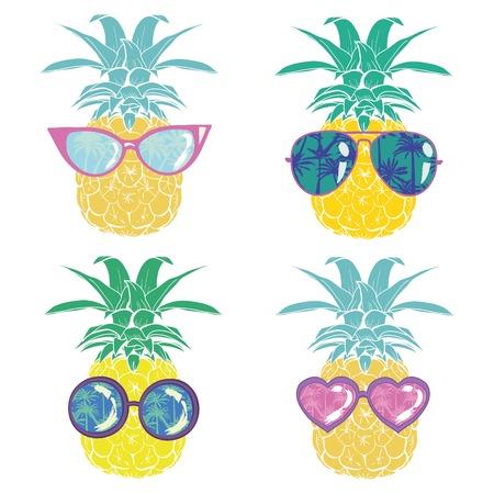 Ananas mit Gläsern tropisch, Vektor, Illustration, Design, exotisch, Lebensmittel, Obst, Hintergrund, Design, exotisch, Lebensmittel, Obst, Gläser, Illustration Natur Ananas Sommer tropischen Vektor Zeichnung frische gesunde isolierte Pflanze süßes weißes Dessert Hawaii Blatt