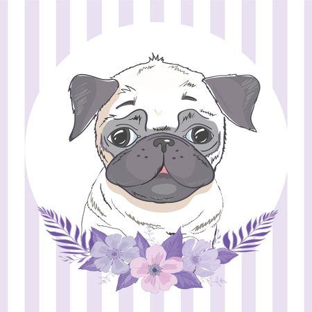 bulldog with flowers, illustration vector Archivio Fotografico - 100853038