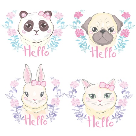 Funny girlish seamless pattern with cute kitty, rabbit, Panda dog, rabbit, faces Фото со стока - 100785821