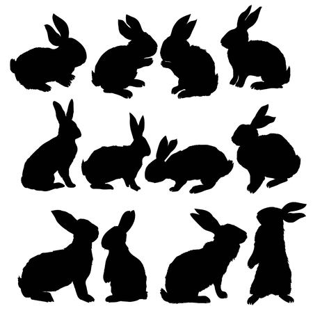 Silhouette rabbit, vector illustration, animal, easter, graphic hare icon isolated nature symbol bunny black Vettoriali