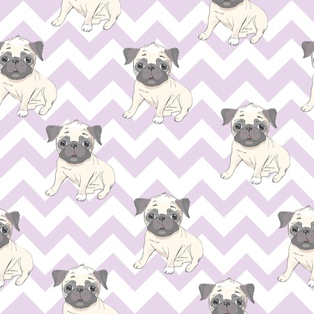 Vector seamless pattern with cute cartoon dog puppies. Can be used as a background, wallpaper, fabric and for other design.French Bulldog pattern 版權商用圖片 - 100703264