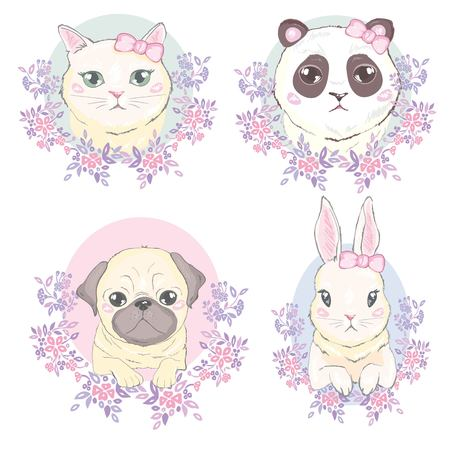 Funny girlish seamless pattern with cute kitty, rabbit, Panda dog, rabbit, faces
