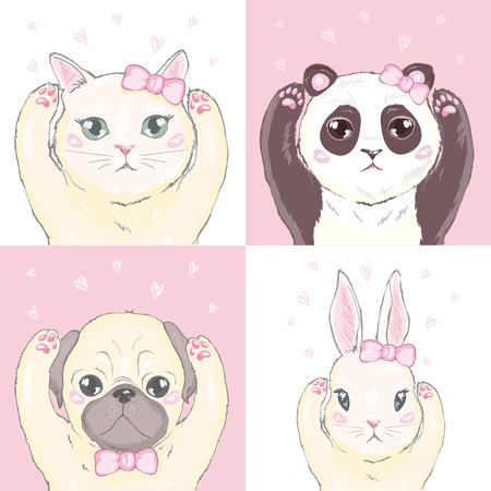 Funny girlish seamless pattern with cute kitty, rabbit, Panda dog, rabbit, faces