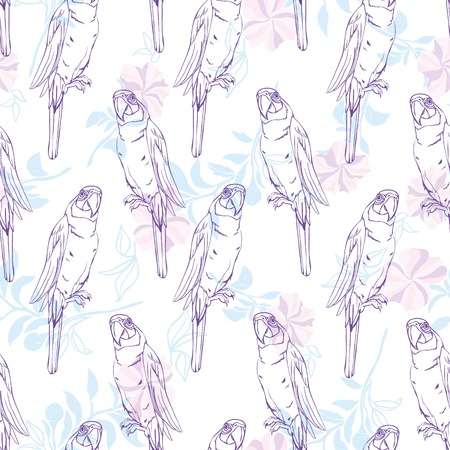 Vector seamless pattern with parrot.