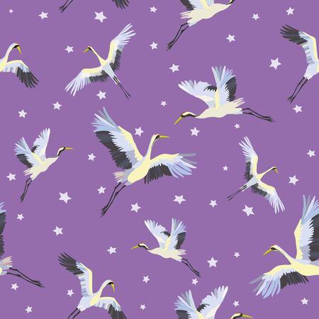 Japanese seamless pattern of birds and water. Traditional vintage fabric print. White and blue indigo background. Kimono design. Monochrome vector illustration. Stok Fotoğraf