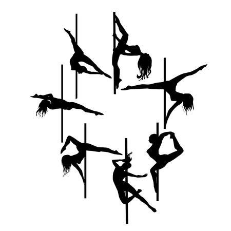 Silueta de vector de niña y poste sobre un fondo blanco. Ilustración de pole dance. Ilustración de vector